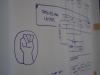 Dibujo durante la planificación de Ombudsman que pasó a ser el logo