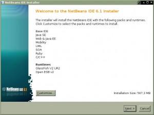 NetBeans 6.1 - Pantalla de bienvenida