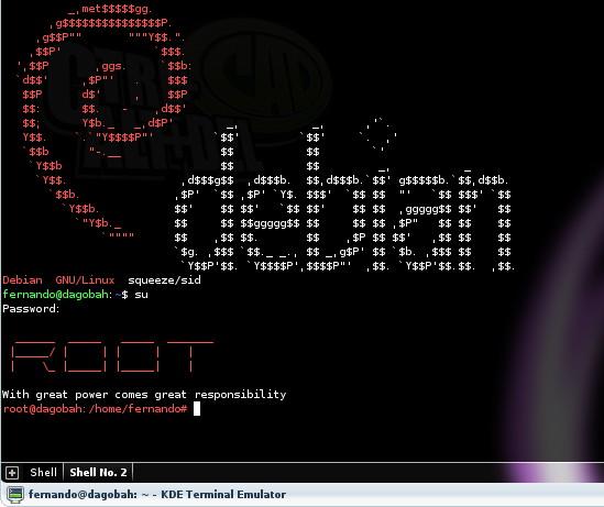 Bash en Yakuake - Ascii Debian