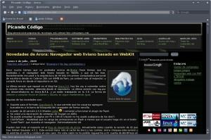 Arora 0.7.1 en Debian Squeeze KDE 4.2.2
