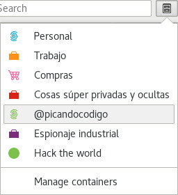 Menú contenedores Firefox