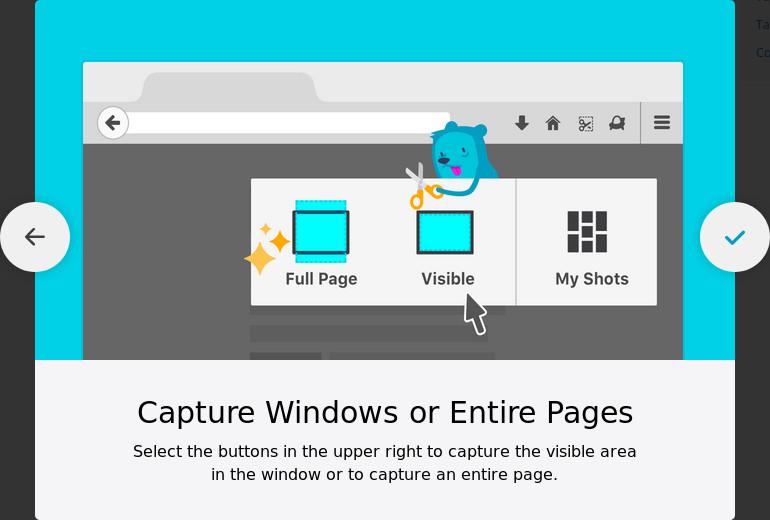 Usa los botones en la esquina superior derecha para capturar el área visible de una ventana o capturar la página entera