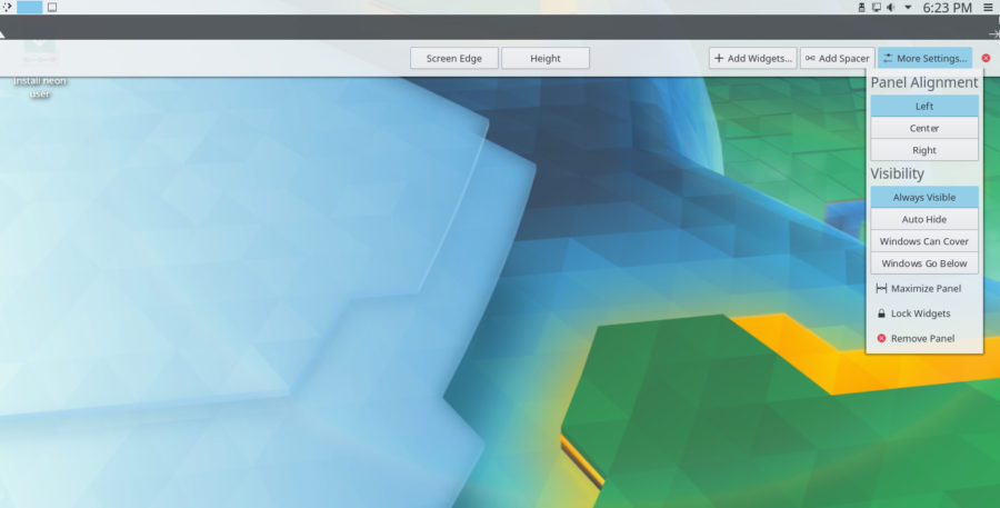 KDE Neon - Paneles