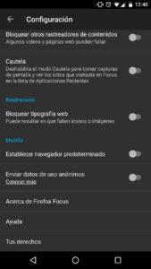 Firefox Focus - Configuración