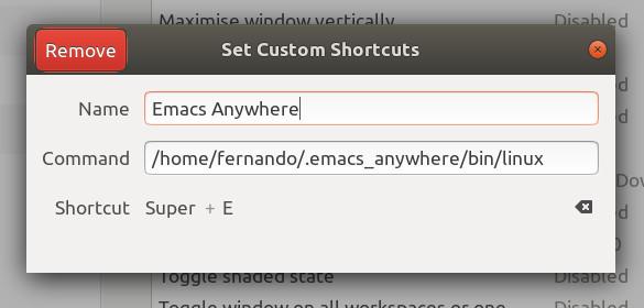 Atajo de teclado Emacs Anywhere