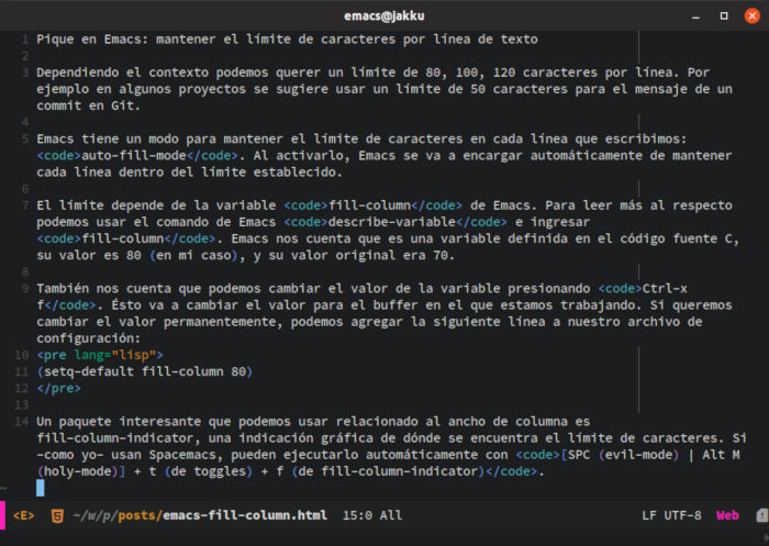 Emacs fill-column-indicator
